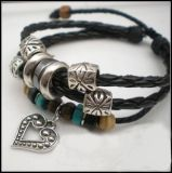 Handmade Leather Bracelet with Beads LW04