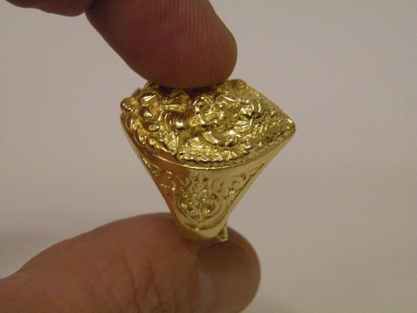 Gold Ring Ganesha Thai Gold plated with 23 Karat 10gr 07 Baht