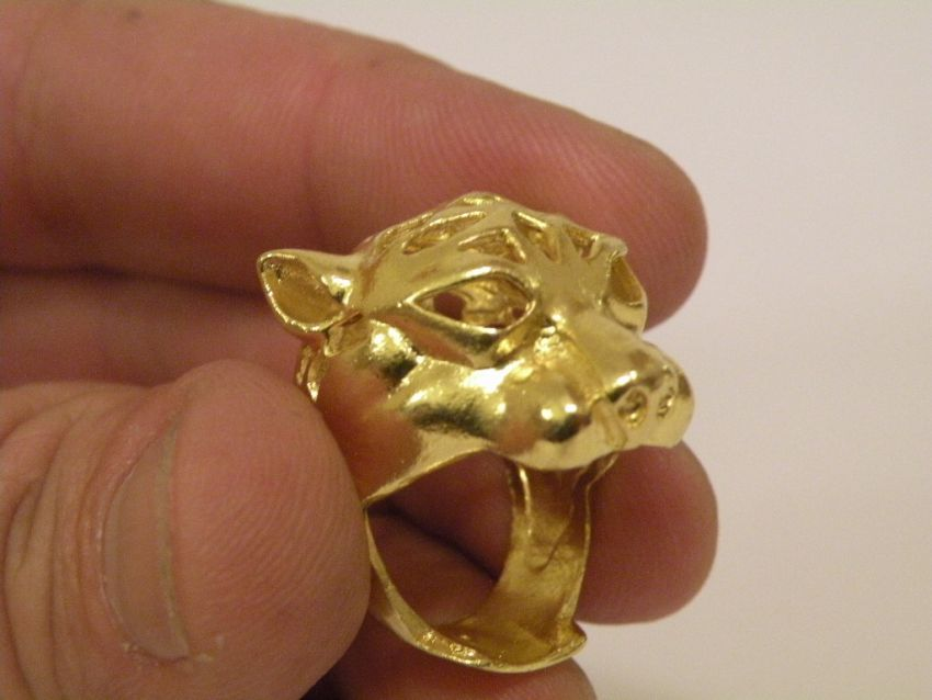 Gold Ring Tiger Head Thai Gold plated with 23 Karat 11gr 07 Baht